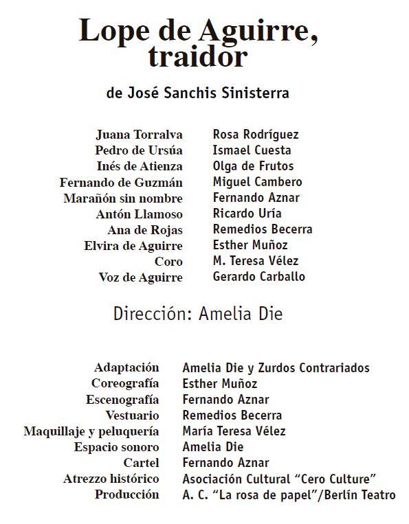 Reparto y ficha técnica de Lope de Aguirre, traidor